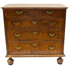 William & Mary Walnut Chest with brass drawer pulls