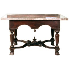 William & Mary X Stretcher Antique Pier Table