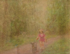 A Girl and her Dog - Mid 20th Century Impressionist Oil Pastel by William Mason