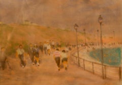 At the Seaside - Mid 20th Century Impressionist Pastel by William Mason