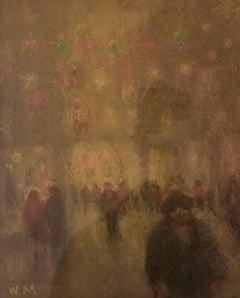 City Lights - Mid 20th Century Impressionist Oil Pastel of Winter City by Mason