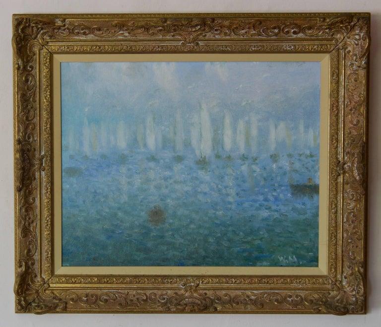 Daybreak on the Sea - 20th Century Impressionist Sailing Boats Seascape by Mason 2