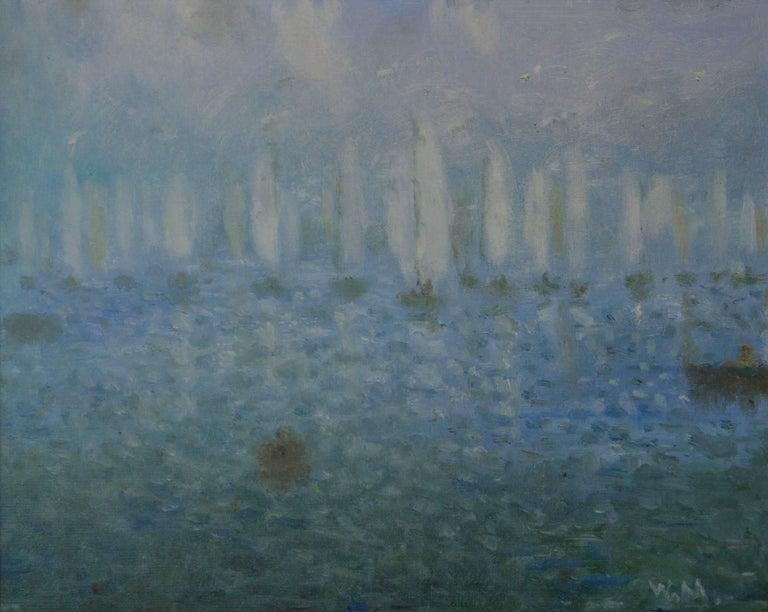 Daybreak on the Sea - 20th Century Impressionist Sailing Boats Seascape by Mason 1
