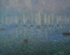 Daybreak on the Sea - 20th Century Impressionist Sailing Boats Seascape by Mason