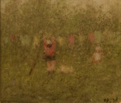 Hanging out the Washing - Mid 20th Century Impressionist Pastel Piece - Mason