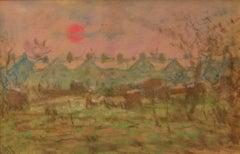 Impressionist Town - Mid 20th Century Pastel Landscape by William Mason