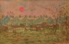 Impressionist Town - Mid 20th Century Pastel Landscape by William Mason