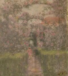 Into the Garden - Mid 20th Century Impressionist Oil Pastel by William Mason