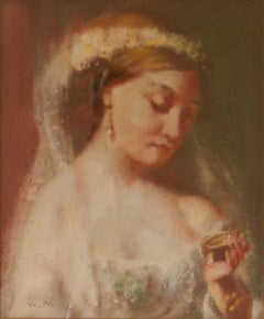 Portrait of Lady on Wedding Day - Mid 20th Century Impressionist Pastel by Mason