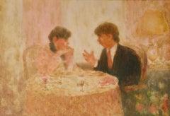 The Conversation at Restaurant - Mid 20th Century Impressionist Pastel - Mason