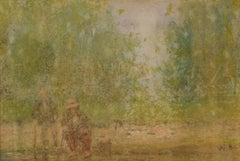 Two Old Men Sitting - Mid 20th Century Impressionist Oil Pastel by William Mason