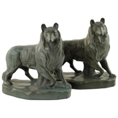 William McDonald for Rookwood Pottery Collie Dog Bookends, circa 1926