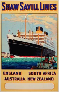 Original Vintage Shaw Savill Lines Cruise Liner Travel Poster Dominion Monarch