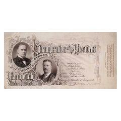 William McKinley and Theodore Roosevelt Original Engraved Inaugural Ticket, 1901