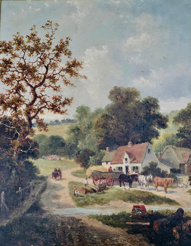 Stunning English rural setting landscape by one of England's best-loved painters.  William George Meadows was born in Mountnessing, Essex in 1825, the son of the artist James Meadows Snr (1788-1864). He was the brother of the James Edwin Meadows
