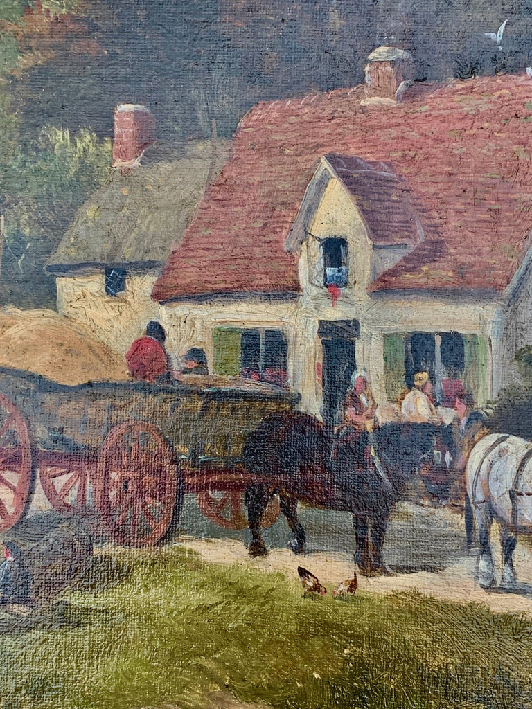 English Victorian 19th century Cottage landscape with horses and cart - Painting by William Meadows