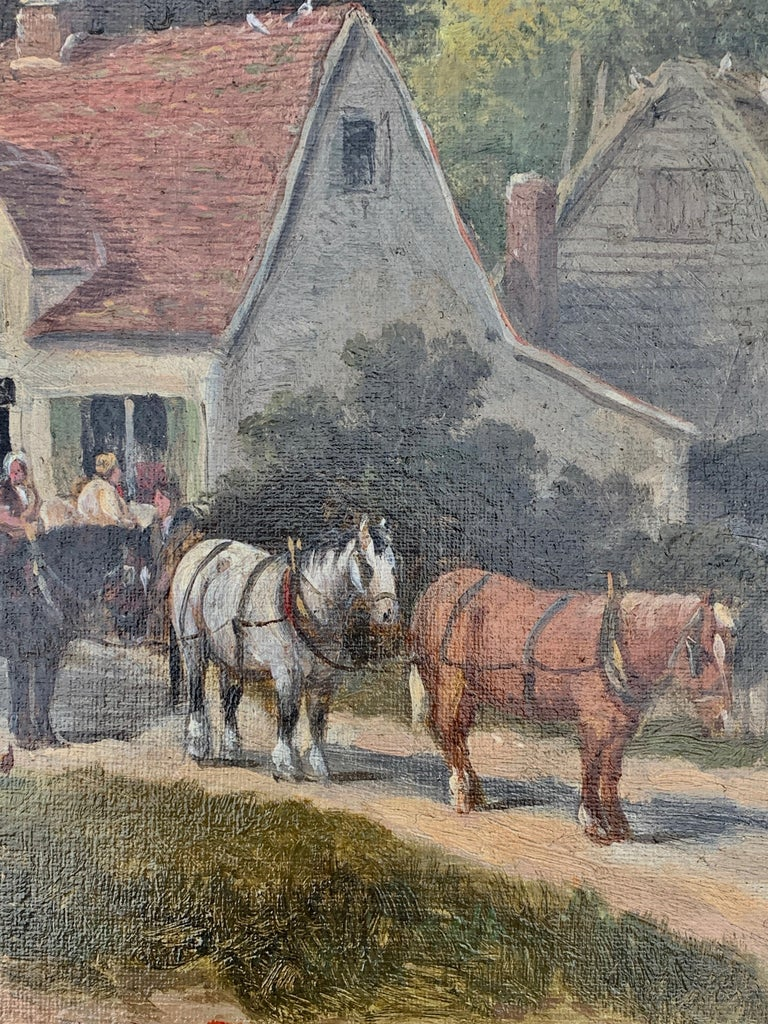 English Victorian 19th century Cottage landscape with horses and cart For Sale 2