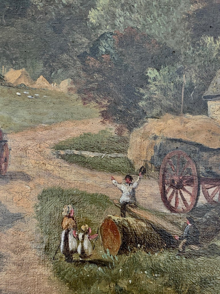 English Victorian 19th century Cottage landscape with horses and cart For Sale 3