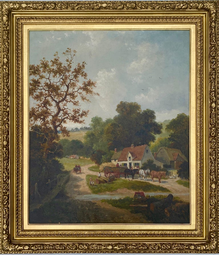 English Victorian 19th century Cottage landscape with horses and cart - Brown Landscape Painting by William Meadows