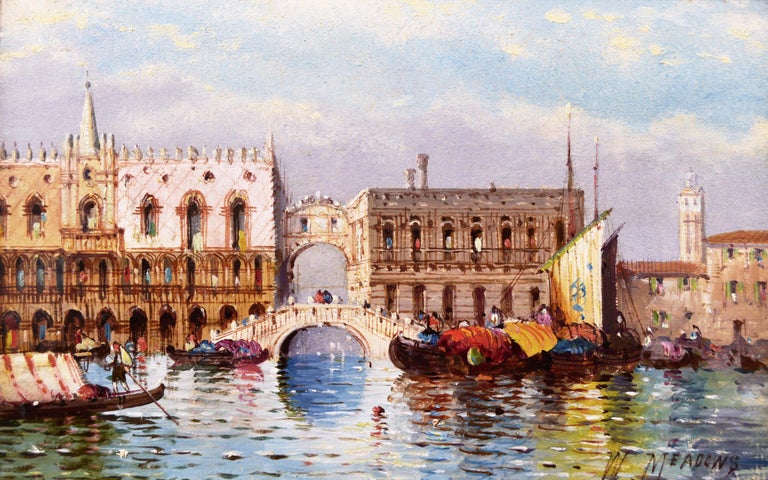 Pair of 19th Century townscape oil paintings of Venice - Painting by William Meadows