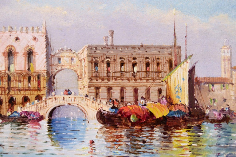 Pair of 19th Century townscape oil paintings of Venice - Victorian Painting by William Meadows