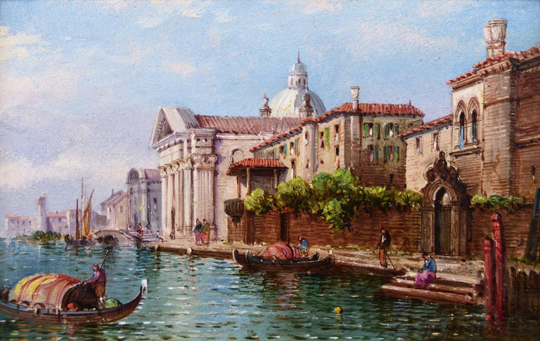 William Meadows British, (1825-c1901) Bridge of Sighs, Venice &  Church of the San Giorgio Maggiore, Venice Oil on board, pair, both signed Image size: 7.75 inches x 12.25 inches  Size including frame: 13.75 inches x 18.25 inches  William George