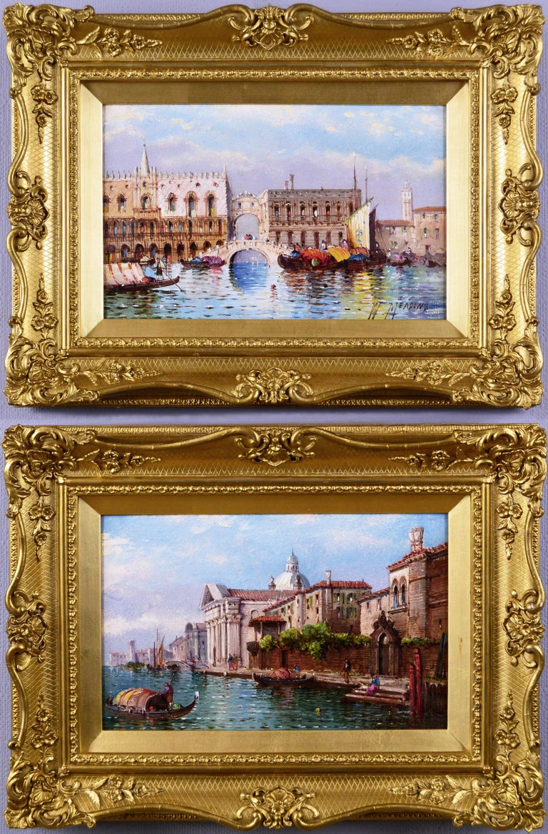 William Meadows Landscape Painting - Pair of 19th Century townscape oil paintings of Venice