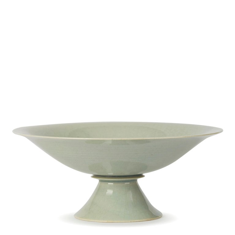 Late 20th Century William Mehornay Studio Pottery Porcelain Celadon Stem Dish, 1974-1975 For Sale