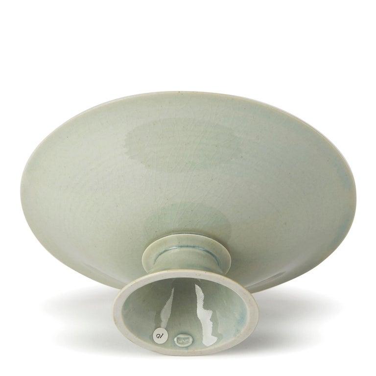 Ceramic William Mehornay Studio Pottery Porcelain Celadon Stem Dish, 1974-1975 For Sale