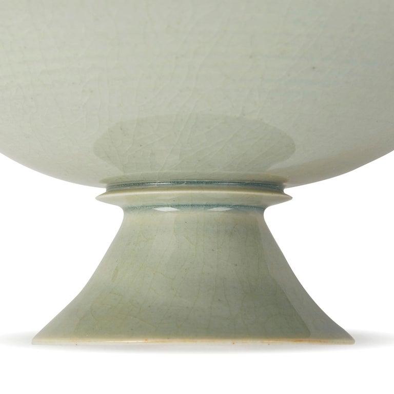 William Mehornay Studio Pottery Porcelain Celadon Stem Dish, 1974-1975 For Sale 2