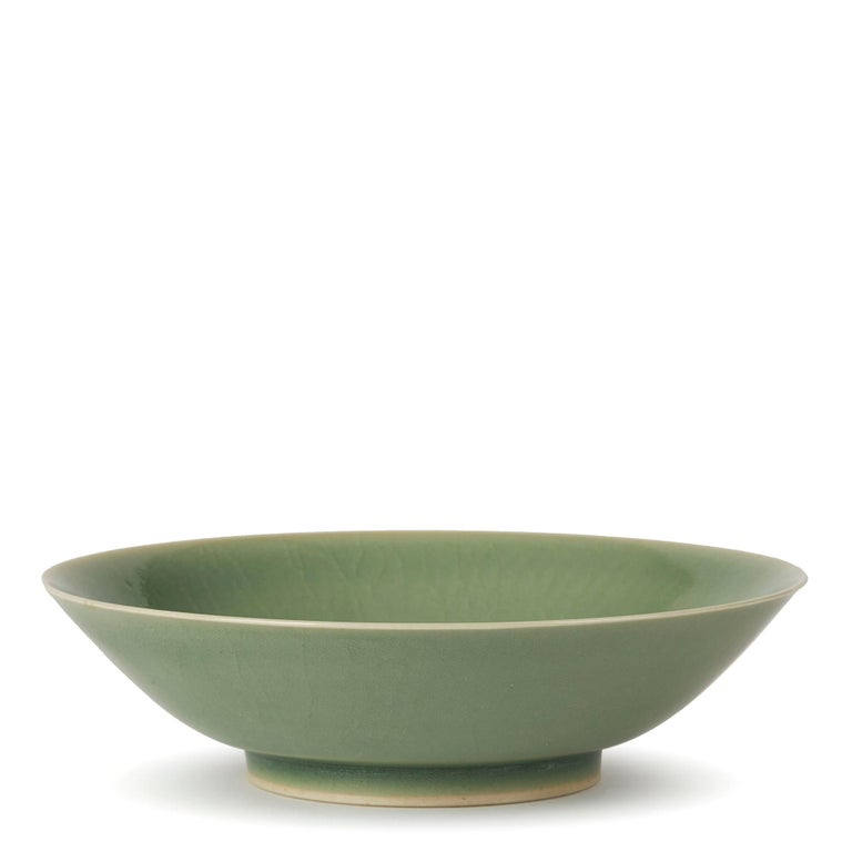 Glazed William Mehornay Studio Pottery Porcelain Green Celadon Dish, 1980 For Sale