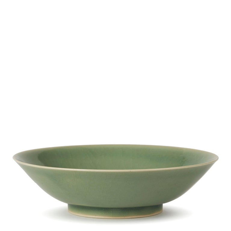 Late 20th Century William Mehornay Studio Pottery Porcelain Green Celadon Dish, 1980 For Sale