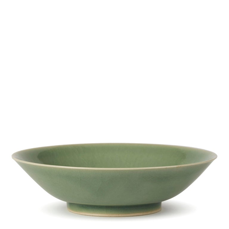 Ceramic William Mehornay Studio Pottery Porcelain Green Celadon Dish, 1980 For Sale