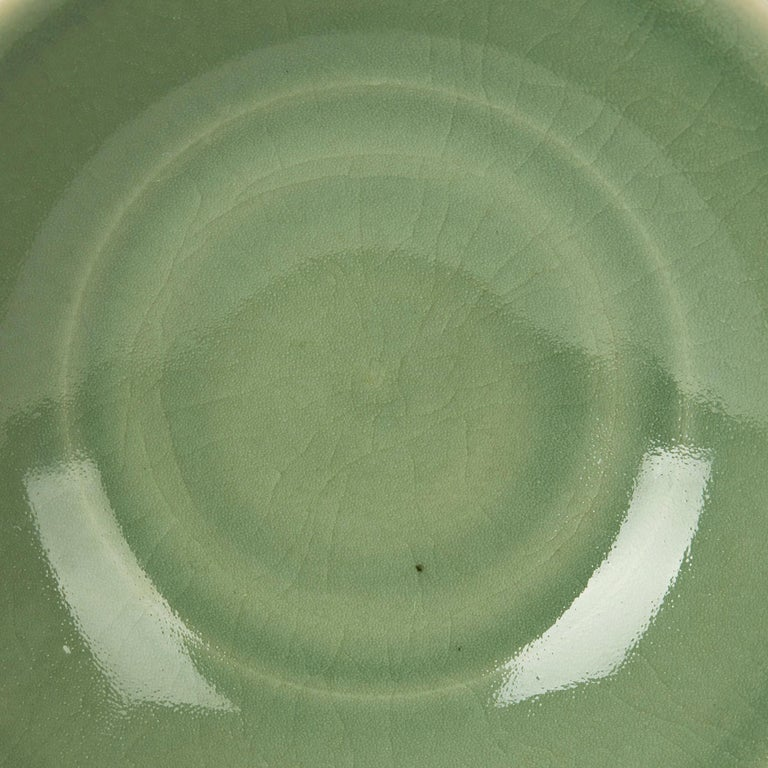 William Mehornay Studio Pottery Porcelain Green Celadon Dish, 1980 For Sale 1