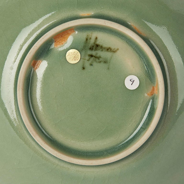 William Mehornay Studio Pottery Porcelain Green Celadon Dish, 1980 For Sale 2