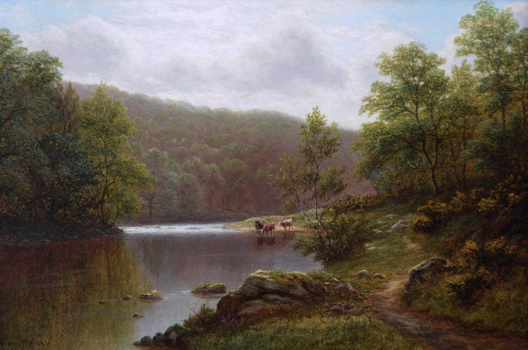 19th Century landscape oil painting of cattle by a river  - Painting by William Mellor