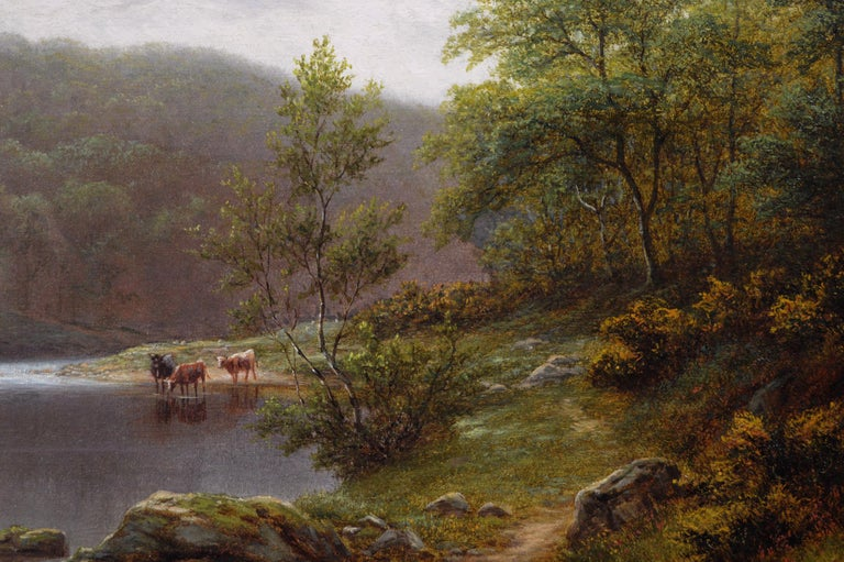 19th Century landscape oil painting of cattle by a river  - Victorian Painting by William Mellor