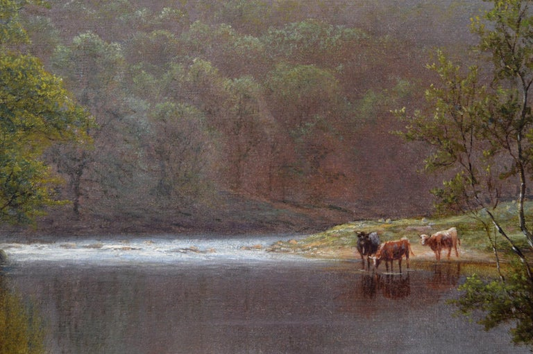 19th Century landscape oil painting of cattle by a river  - Brown Landscape Painting by William Mellor