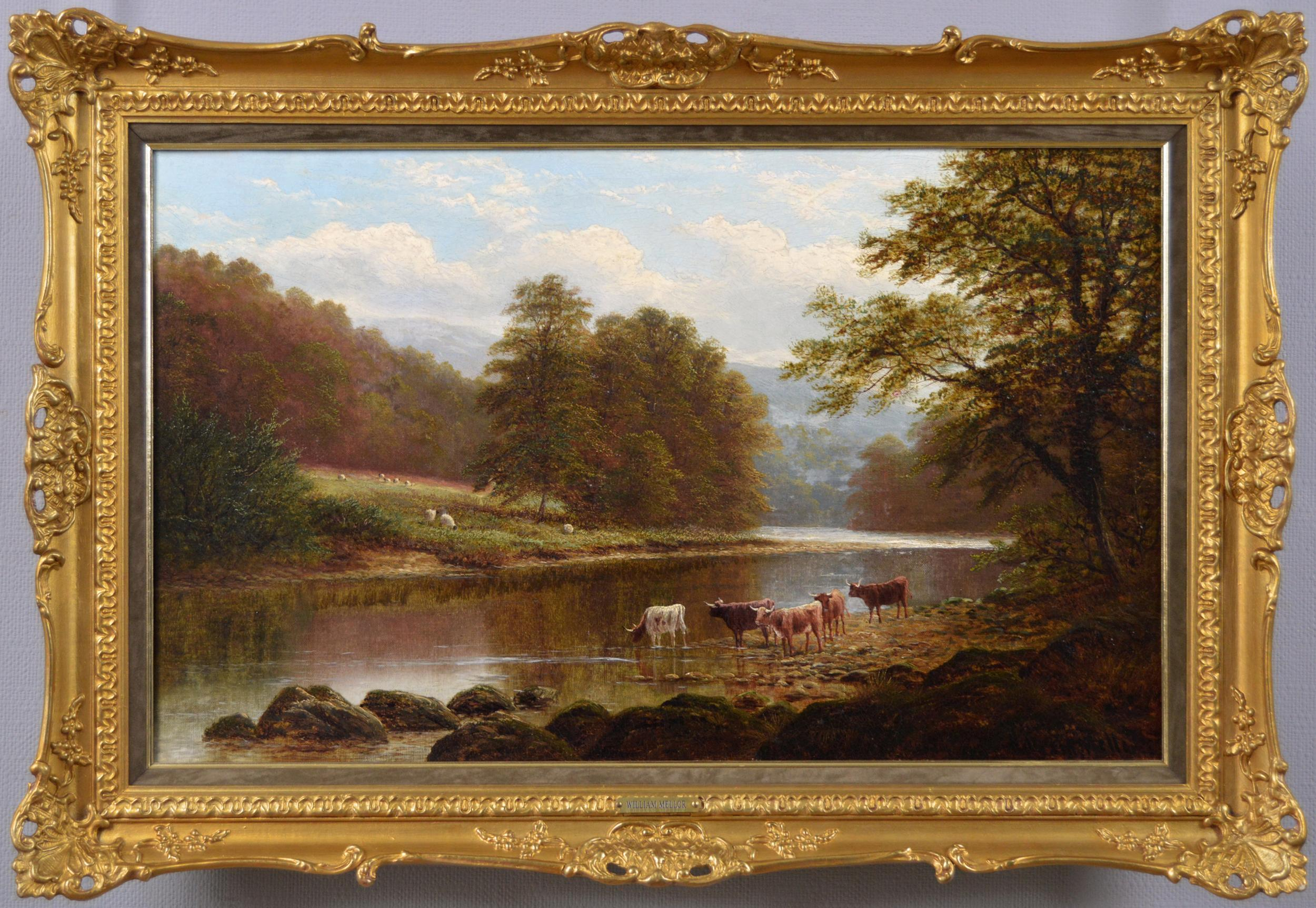19th Century landscape oil painting of cattle near a river