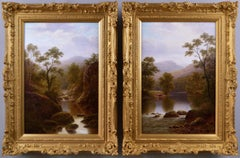 19th Century pair of Welsh river landscape oil paintings