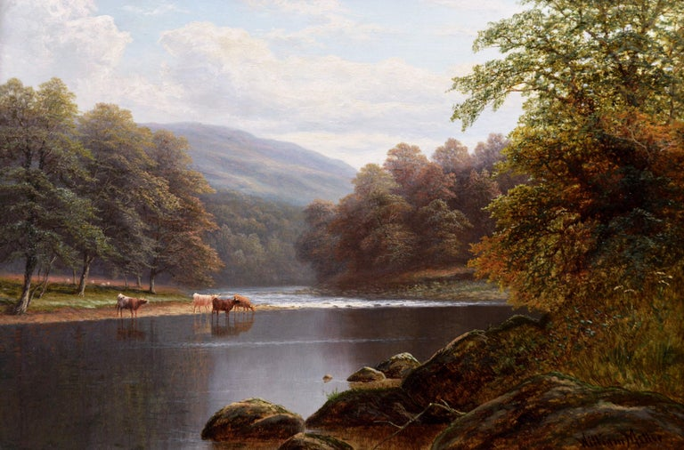 19th Century Yorkshire river landscape oil painting  - Painting by William Mellor
