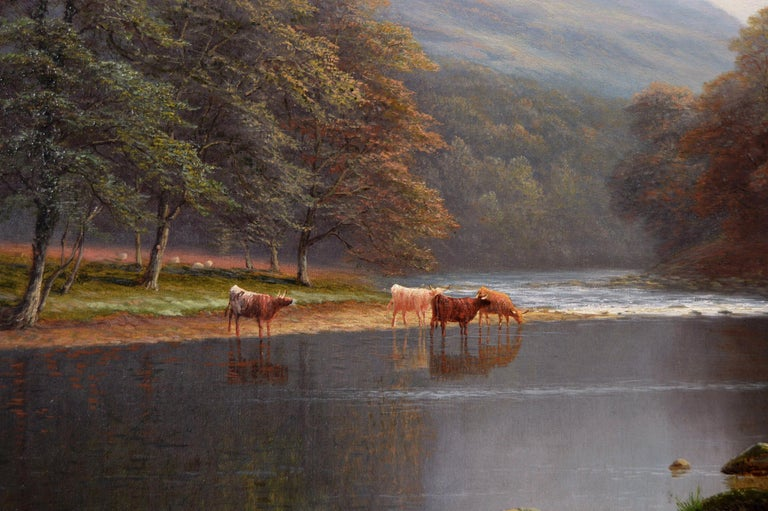 19th Century Yorkshire river landscape oil painting  - Victorian Painting by William Mellor