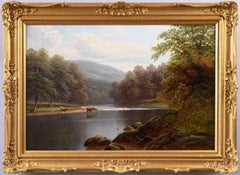 19th Century Yorkshire river landscape oil painting