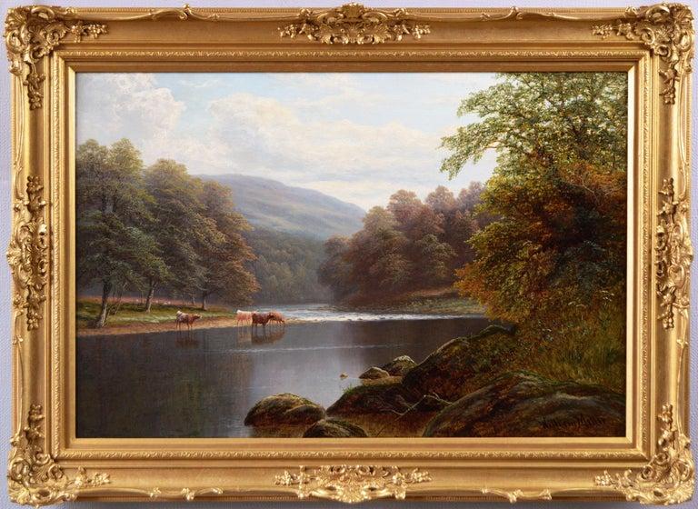 William Mellor Landscape Painting - 19th Century Yorkshire river landscape oil painting