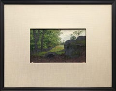 """Trees at the Cliff New Milford - PA"" Impressionist Landscape Oil Painting"