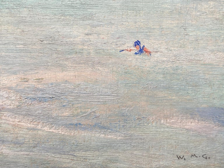 William Mervyn Glass (1885-1965)-Swimming off Iona, signed with initials, oil on board, at present unframed.