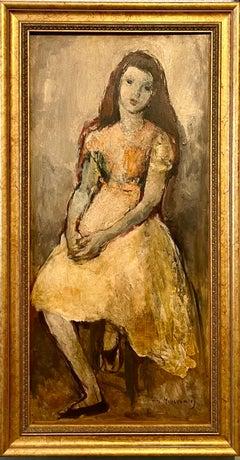 Post Impressionist Oil Painting Seated Girl William Meyerowitz NYC WPA Artist