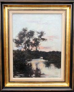 Twilight - Scottish art Impressionist 19th century oil painting river landscape
