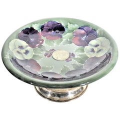 William Moorcroft Early Pansy Patterned Art Pottery Pedestal Bowl or Compote