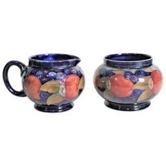William Moorcroft Pomegranate Patterned Art Pottery Creamer and Sugar Bowl Set